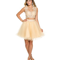 Gold Lace Two Piece Short Dress 2015 Homecoming Dresses