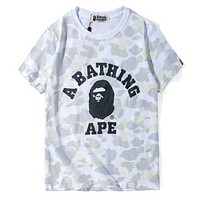 Bape Aape Summer Fashion New Bust Letter Print Camouflage Top T-Shirt  White