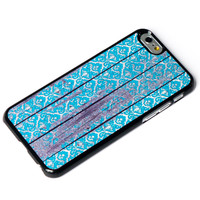 Blue Damask on Wood iPhone 6 Case iPhone 5 Case iPhone 5s Case Wooded iPhone Case