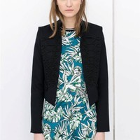 ZARA NAVY BLUE SHORT JACKET WITH TOGGLE FRONT DETAIL SIZE S SMALL REF 2198/805