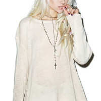 Wildfox Couture Essentials Loose Knit Roadie Sweater Vintage Lace