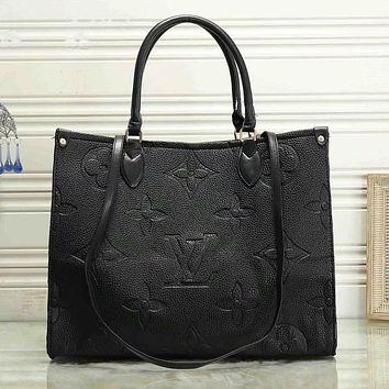 LV Louis Vuitton New Products Women's Pure Color Embossed Letters Shopping Handbag Shoulder Bag Black