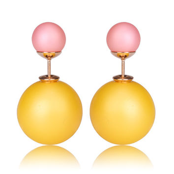 Gum Tee Mise en Style Tribal Earrings - Matte Yellow and Pink
