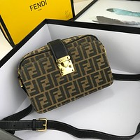 FENDI WOMEN'S FF ZUCCA CANVAS HANDBAG INCLINED SHOULDER BAG
