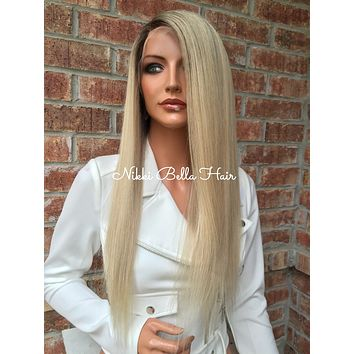 """Light Ash blonde Multi Parting Human Hair Lace Front wig 20"""" Silk straight"""