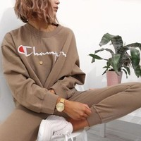 One-nice™ Champion Casual Embroidery Top Sweater Pullover Sweatshirt