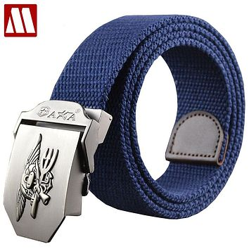Fashion Unisex Canvas Belts Leisure Waistband for Men Women Strap Casual Tactical Belt Metal Buckle Belts