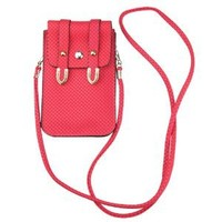 Red PU Leather Universal Mobile Phone Bag Case Cover Pouch With Shoulder Strap For Iphone5 4S/Samsung Galaxy Note 2 ,GALAXY S3 i9300, Galaxy S4 i9500/Htc One/Motorola/Blackberry Z10