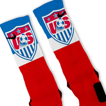 USA Soccer World Cup Crest Custom Nike Elite Socks