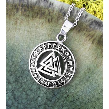 Cut-Out Valknut Medallion Pendant With Rune Border