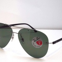 Authentic Ray-Ban RB 8058 004/9A Gunmetal Black Green Classic Sunglasses $290
