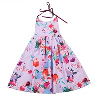 Kids Girls Baby Toddler Floral Lace Dress Princess Backless Dress Party Birthday Flower Dress