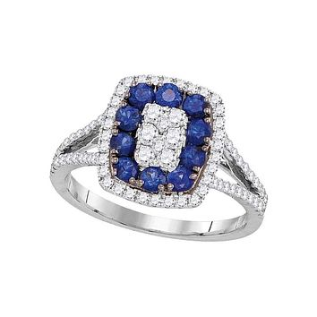 18k White Gold Round Blue Sapphire Diamond Cluster Ring 1 Cttw