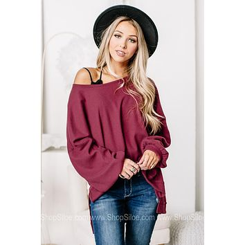 Show Them The Way Soft Knit Waffle Top | Burgundy
