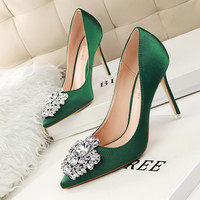 New Spring Summer Women Pumps Elegant Buckle Rhinestone Silk Satin High Heels Shoes Heeled Sexy Thin Pointed Single Shoes G516-5