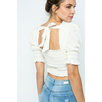 Fleurie Smocked Top - off white