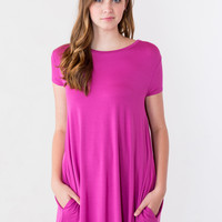 Piko Dress: Short Sleeve, Round Neck with Pockets in Magenta
