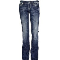 Miss Me Sequin Wave Straight Stretch Jean