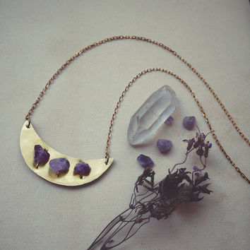 amethyst moon necklace • crescent necklace - crescent moon necklace crystal - witch jewelry - amethyst necklace - wicca witchy pagan