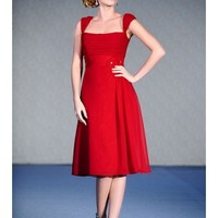 Chic Satin And Chiffon Square Straps A-Line Tea Length Bridesmaid Dress With Flattering Bodice SB2191