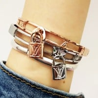 Louis Vuitton LV New Fashion Classic Lock Hollow Stainless Steel Bracelet Jewelry Accessories Women