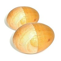 Set of Two Handmade Wood Egg Shakers Musical Instrument