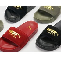 Puma Leadcat Suede Gold Logo Slippers Velvet Sandals B-CSXY Gold Flag Four Color
