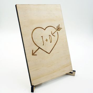 Custom Personalized Wood Heart Arrow Greeting Card Unique Wedding Gift Keepsake