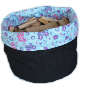 Girls Denim & Butterfly Flower Print Toy Bag Pink Purple Flannel Homeschool Tote Laundry Extra-Large Bag  -- US Shipping Included