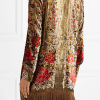 Anna Sui - Fringed flocked lamé jacket