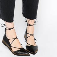 Whistles Sida Lace Up Black Leather Pointed Flat Shoes