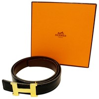 HERMES Belt Constance Buckle H Reversible Black Brown 70cm