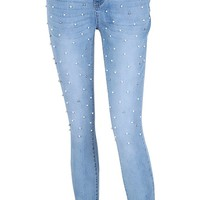 Daytime Diva Light Blue Pearl Stud Skinny Denim Jeans Pants - Sold Out