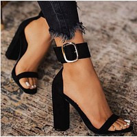 Black thick heel Shoe upper Buckle High heel sandals women shoes black