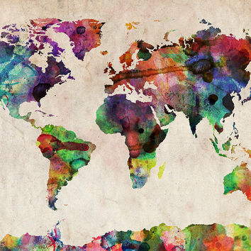 World Map Watercolor Digital Art by Michael Tompsett - World Map Watercolor Fine Art Prints and Posters for Sale