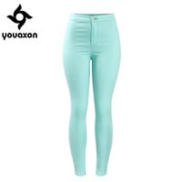 2041 Youaxon Women`s Celebrity Style High Waist Stretch Mint Green Pencil Skinny Jeans For Woman Jean Pants