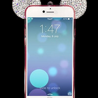 "Iphone 6s Cases, Crosspace® Flexible Mickey 3D Bling Crystal Ears TPU Bumper with Sling Shell - Bear/ Mouse/ Diamond Ear Design Soft Cover for Apple Iphone 6/6s 4.7"" (Pink/White)"