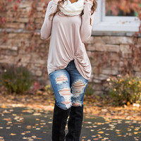 Sealed With a Twist Long Sleeve Top (Taupe)