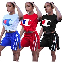 Champion fashion brand casual women's casual letter printing set two-piece