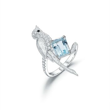 925 Sterling Silver, Flying Bird Blue Sky Topaz Gemstone Ring