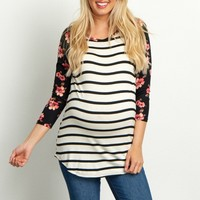 Ivory-Striped-Floral-Sleeve-Top