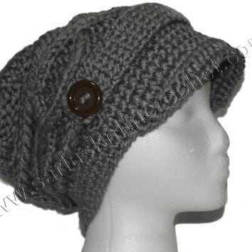 Womens Slouchy Gray Beanie Knitted Gray Slouchy Winter Beanie for Women and Teen Girls