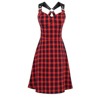 Gothic Dress Women Summer Red Plaid A-Line Casual Dresses Spaghetti Strap