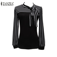 Plus Size S-4XL 2016 Hot Sale OL Women Blouse Shirt Spring Fashion Black White Stripe Bowknot Tops Long Sleeve Blusas Femininas