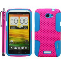 2 in 1 Hybrid Silicone Snap-on Case Cover Skin Protector for HTC One X - Matching Branded 4.5-Inch Universal Stylus Pen Included - With The Friendly Swede-Retail Packaging -Hot pink and Aqua blue