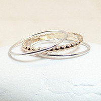 Two Tone Stack Ring Set, Gold Bead Ring, Mixed Metal Stack Set, Tiny Gold Ring, Tiny Silver Ring, Silver Bands, Silver Stack Set