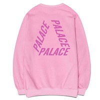 PALACE Popular Simple Women Men Leisure Letter Print Top Sweater Pink