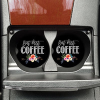 But first Coffee Car Coasters, Sandstone Coaster, Car Cup holder Coaster (CAR0056)
