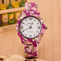 Sport Casual Quartz Women Dress Flower Geneva Watch