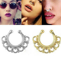 1pc Non-Piercing Septum Hanger Clip-On Fake Nose Ring Body Jewelry 3C